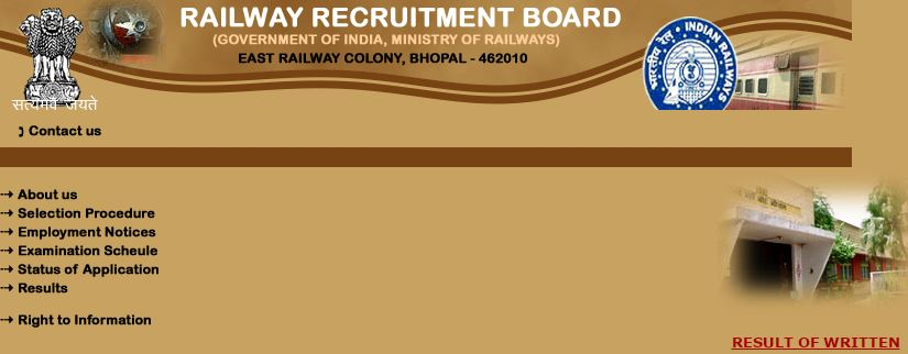 RRB Bhopal NTPC Result Date 2016