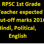 RPSC 1st Grade Teacher expected cut-off marks 2016 (Hindi, Political, English)