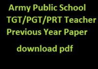 Army Public School TGT/PGT/PRT Teacher Previous Year Paper
