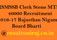 RSMSSB Clerk Steno MTS 40000 Recruitment 2016-17