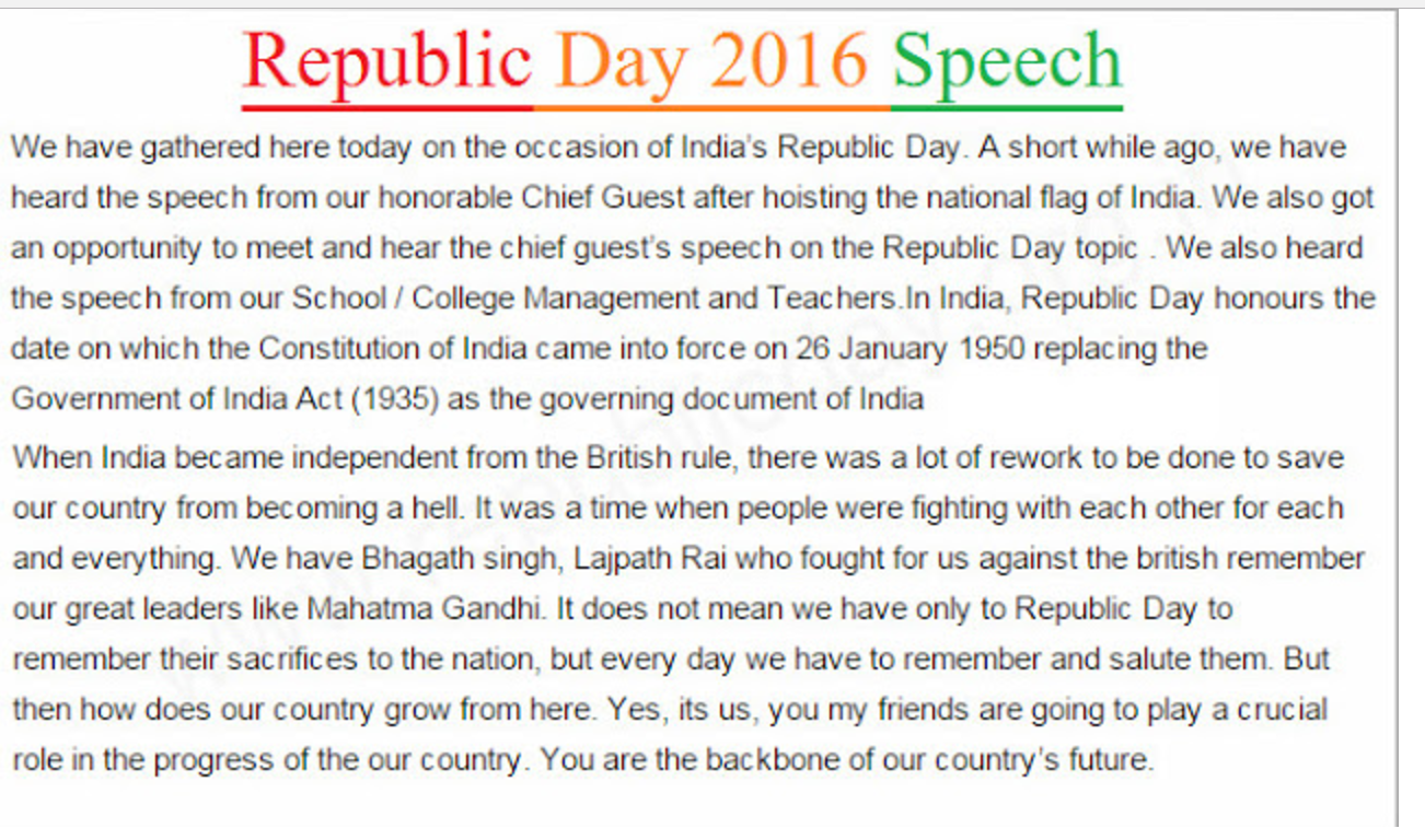 short speech on the republic day