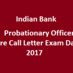 Indian Bank PO Admit Card 2017