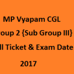 MP Vyapam Group 2 CGL Hall Ticket 2017