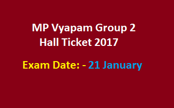 MP Vyapam Group 2 Hall Ticket 2017 Assistant Auditor Sub Group II Admit Card