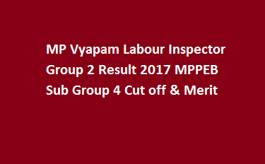 MP Vyapam Labour Inspector Group 2 Result 2017 MPPEB Sub Group 4 Cut off