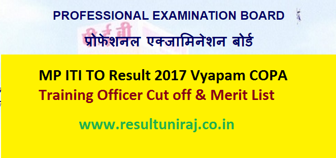 MP ITI TO Result 2017 Vyapam COPA Training Officer Cut off & Merit List