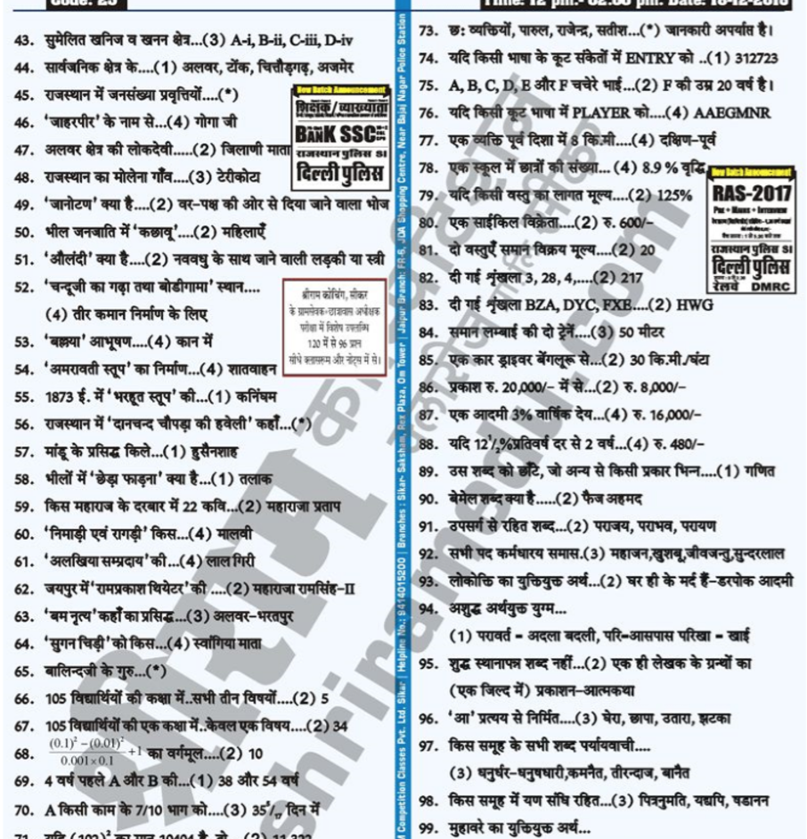 Rajasthan PTET Answer Key 2019