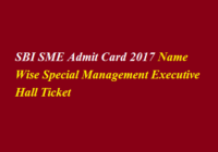 SBI SME Admit Card 2017 Name Wise Special Management Executive Hall Ticket