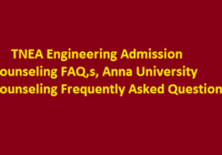 TNEA Engineering Admission Counseling FAQ,s, Anna University Counseling Frequently Asked Question