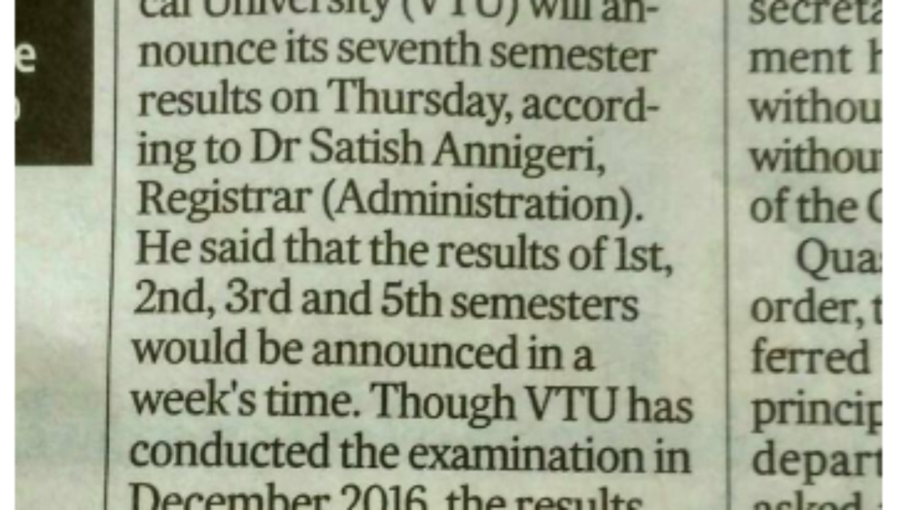 VTU BE 1st Semester Result 2019 Visvesvaraya Technical University