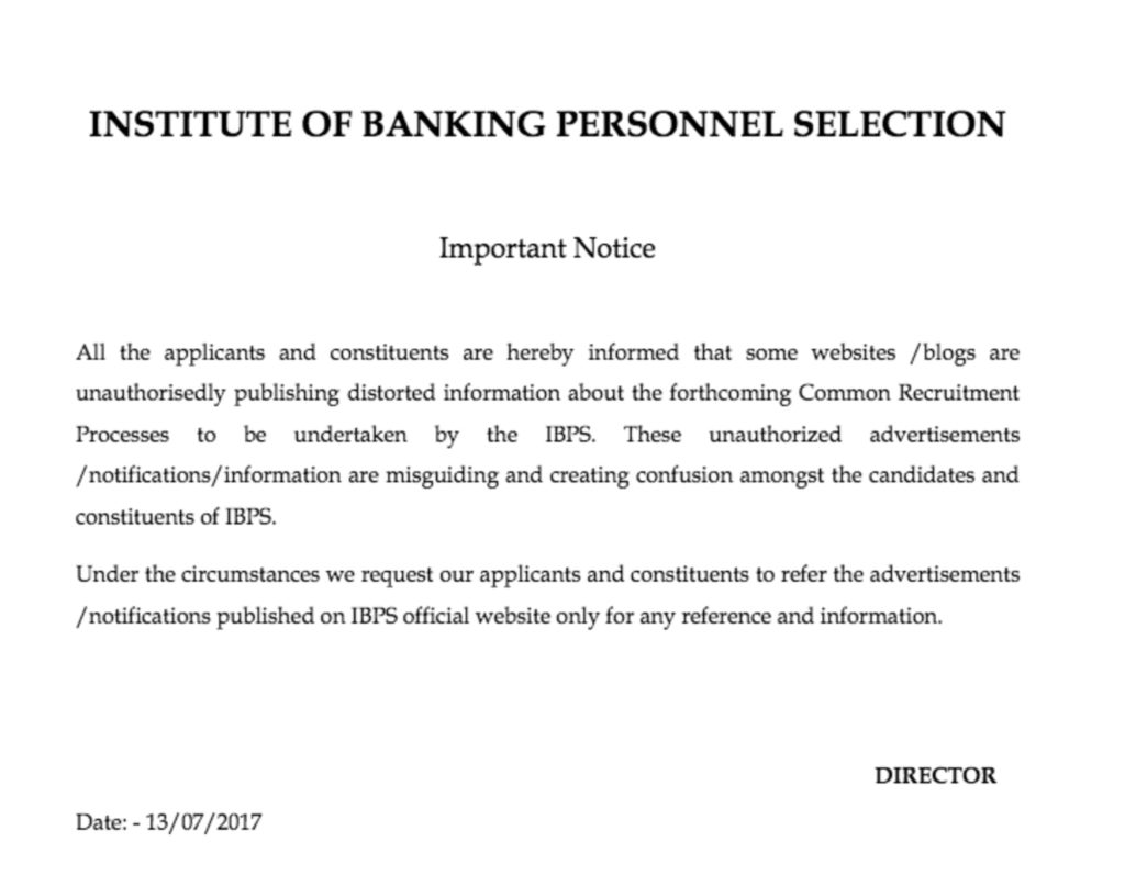 IBPS Notice about RRB Fake News