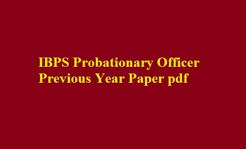 Ibps Po Exam Previous Question Papers Pdf