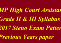 MP High Court Assistant Grade II & III Syllabus 2017 MPHC Steno Exam Pattern Previous Years paper