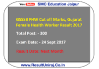 GSSSB FHW Cut off Marks, Gujarat Female Health Worker Result 2017