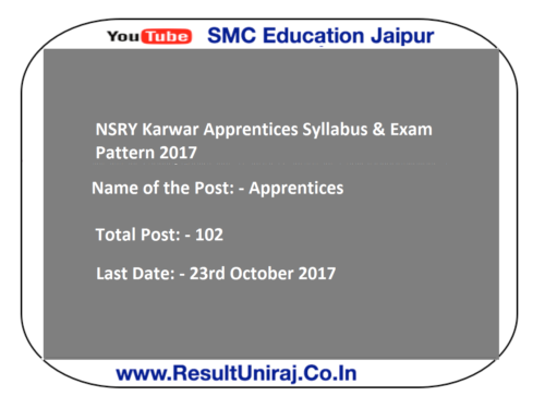 NSRY Karwar Apprentices Syllabus & Exam Pattern 2017