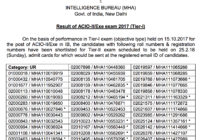 IB ACIO Tier 1 Exam Result 2017 on 19 January 2018