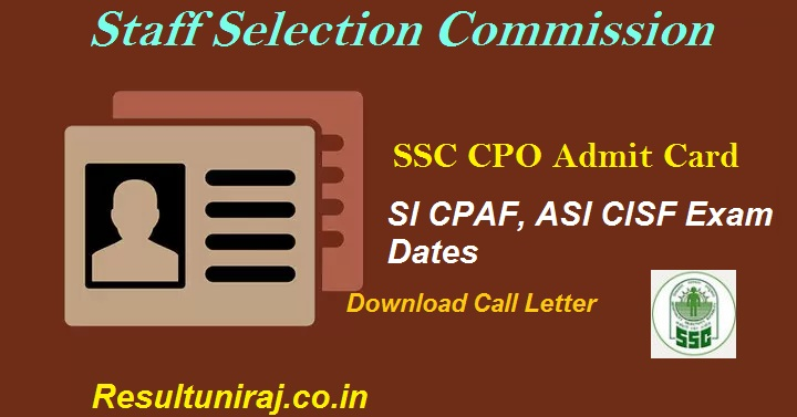 SSC CPO Admit card 2018, SSC SI ASI Hall Ticket 2018