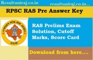 RPSC RAS Answer Key 2018