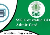 SSC GD Constable Exam Hall Ticket 2018