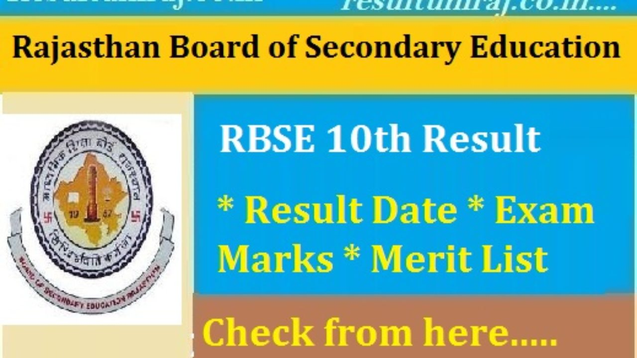 RBSE 10th Board Result 2019 Name Wise, BSER Secondary Result 2019 at
