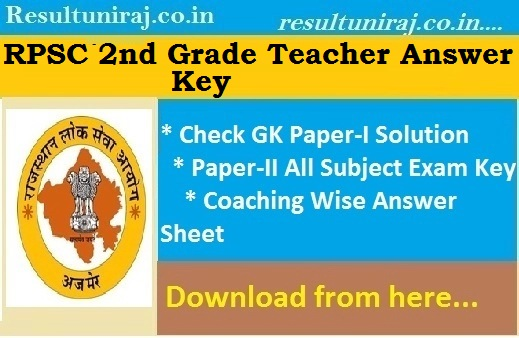 RPSC 2nd Grade Subject Wise Answer Key 2019