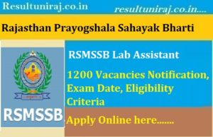 RSMSSB Lab Assistant Recruitment 2018