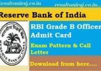 RBI Grade B Officer Admit Card 2018