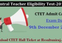 CBSE CTET Admit Card 2018