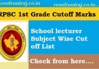 RPSC 1st Grade Teacher Cut off Marks 2018