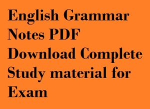 English Grammar Notes PDF