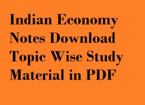 Indian Economy Notes in PDF Hindi