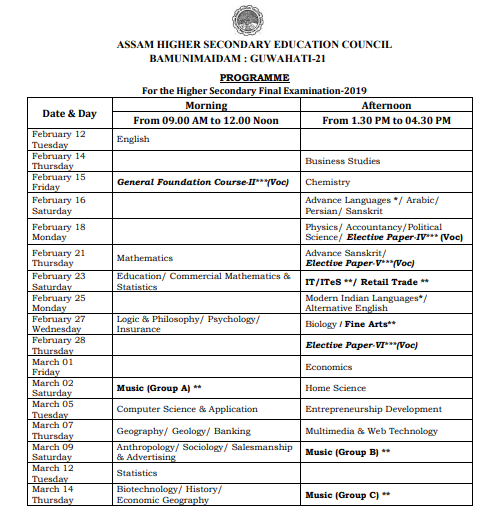 Assam HS Exam Routine 2019 Arts, Commerce, Science Available Now