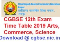 CG board 12th Time Table 2019