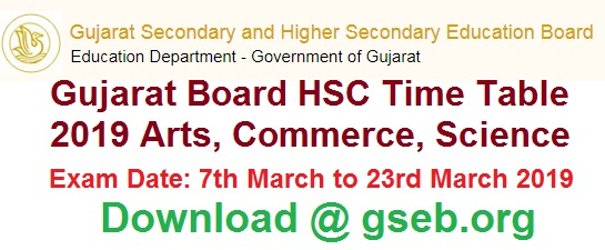 Gujarat Board Hsc Time Table 2019 Arts Science Commerce Download