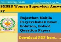 RSMSSB Women Supervisor Answer Key 2019