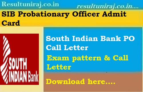 South Indian Bank PO Admit Card 2018