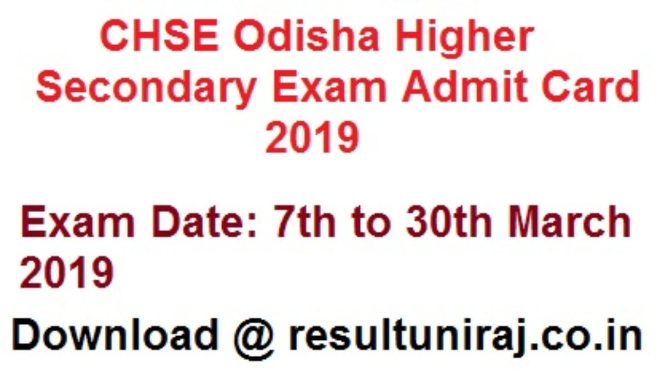 CHSE Odisha Admit Card 2019 Science, Arts, Commerce Download +2 Hall