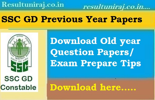 SSC GD Constable Previous Year Question Papers 2019- SSC GD