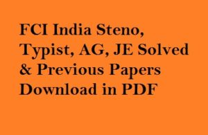 FCI Previous Papers PDF
