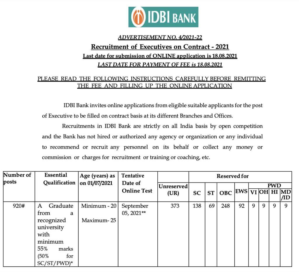 IDBI Bank Executive Bharti 2021