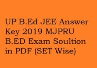 UP BED JEE Answer Key 2019