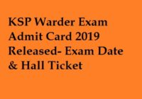 KSP Warder Admit Card 2019