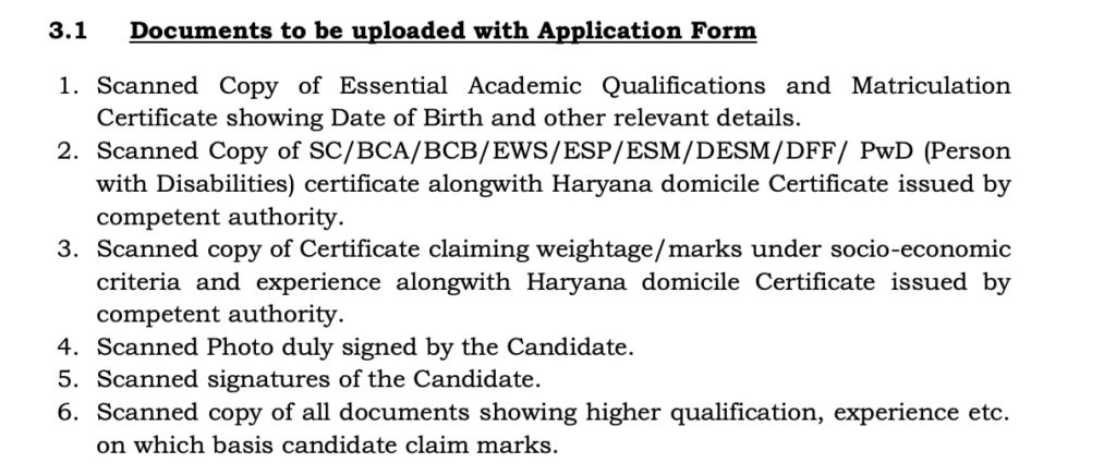 Important Document for online application