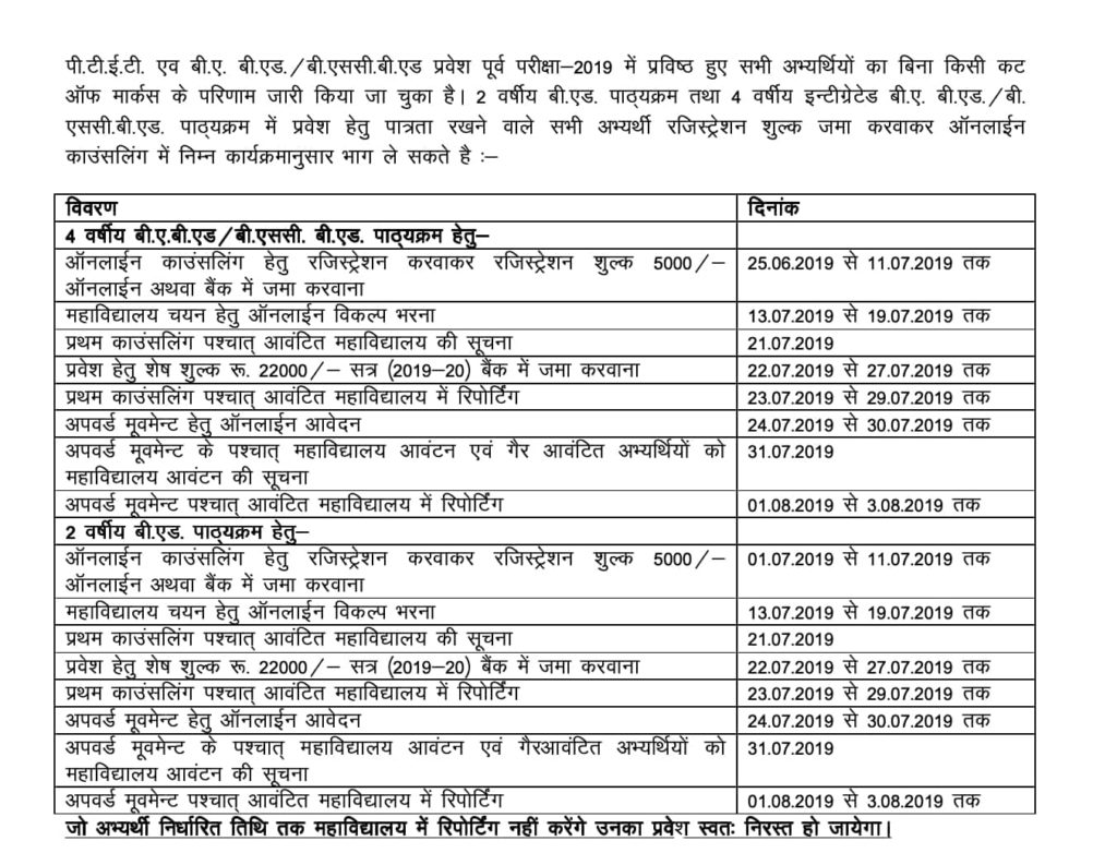 PTET Revised Counselling Schedule 2019