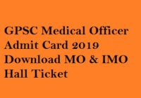 GPSC Medical Officer Admit Card 2019