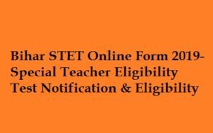 Bihar STET Online Application Form 2019