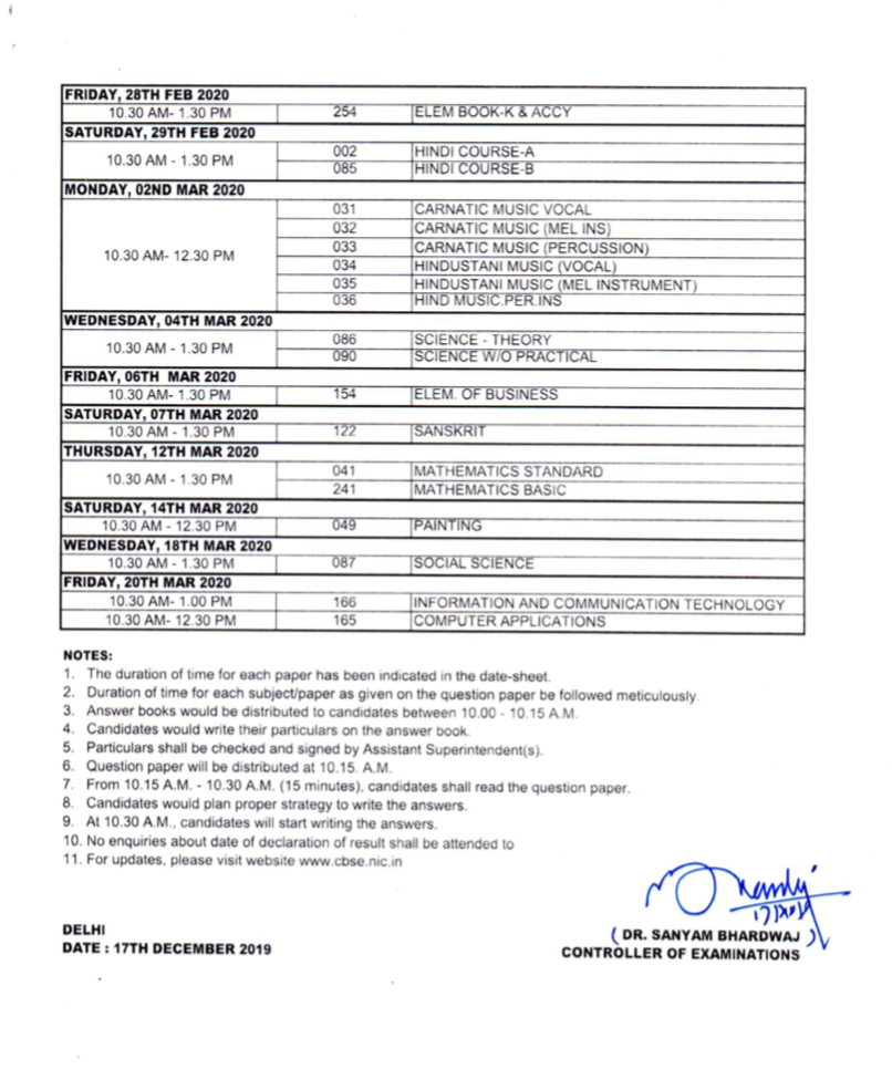 10th cbse exam time table 2020