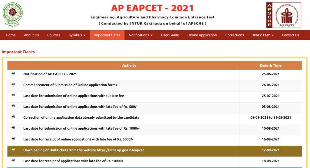 AP EAPCET – 2021 web portal link