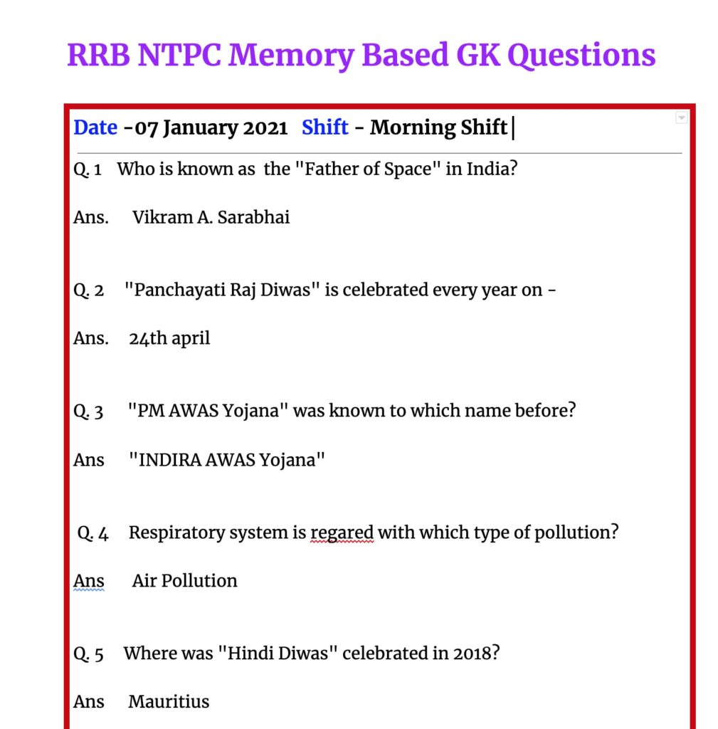 07 January 2021 RRB NTPC Asked Questions
