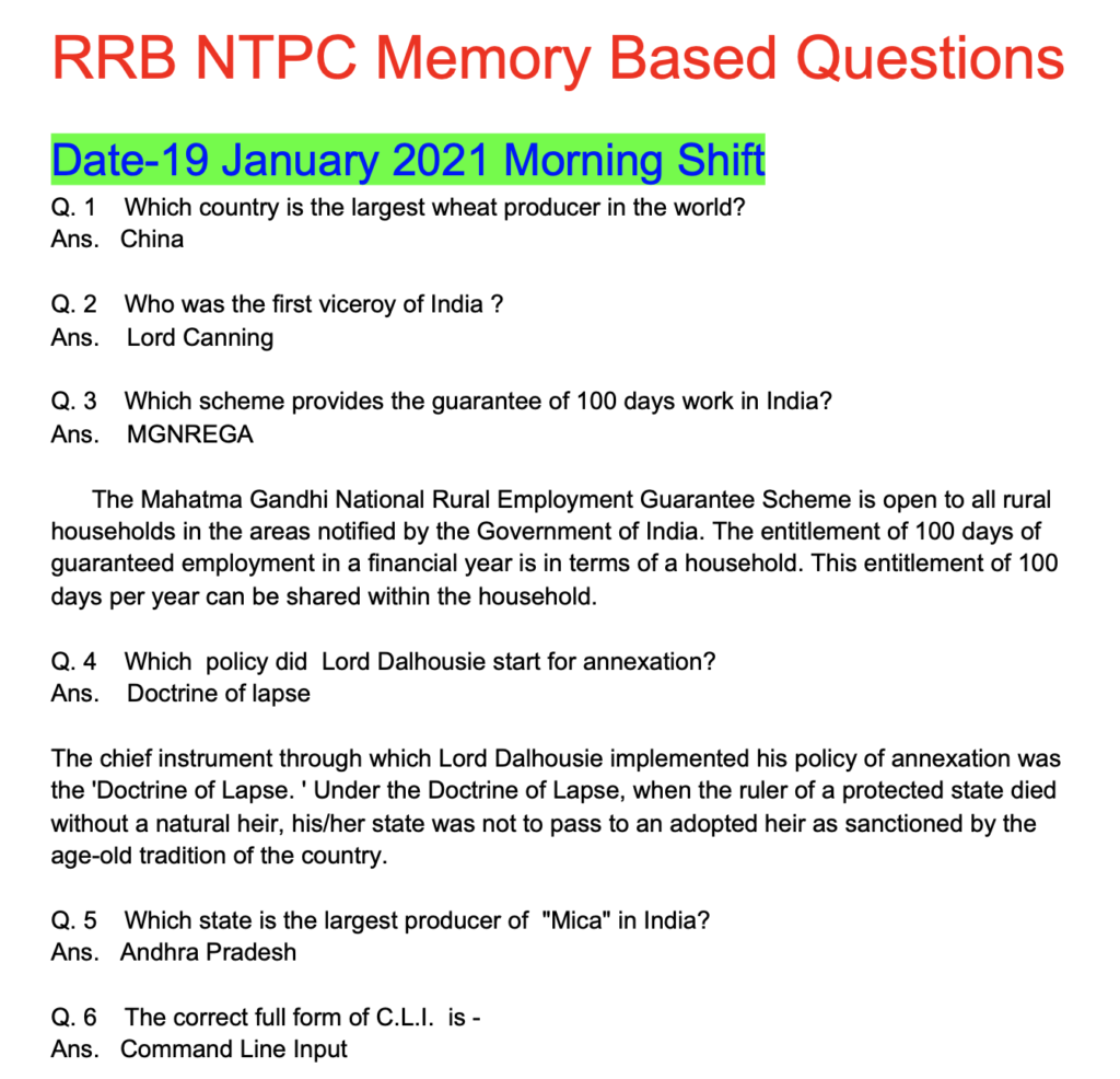 RRB NTPC 19 January 2021 GK Questions